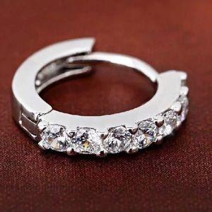 New Sparkling Diamond Circle Hoop Earrings